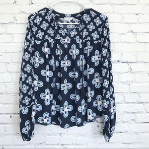 Down & Ivy Blue Flower Top Peasant New Small